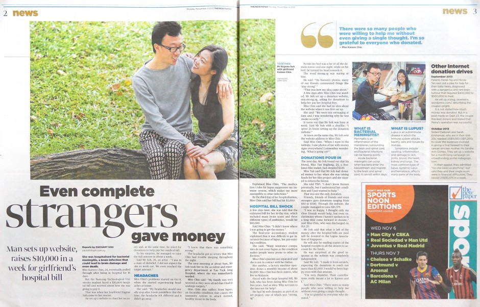 Eugene Soh raises 10k for girlfriend kareen chin lo