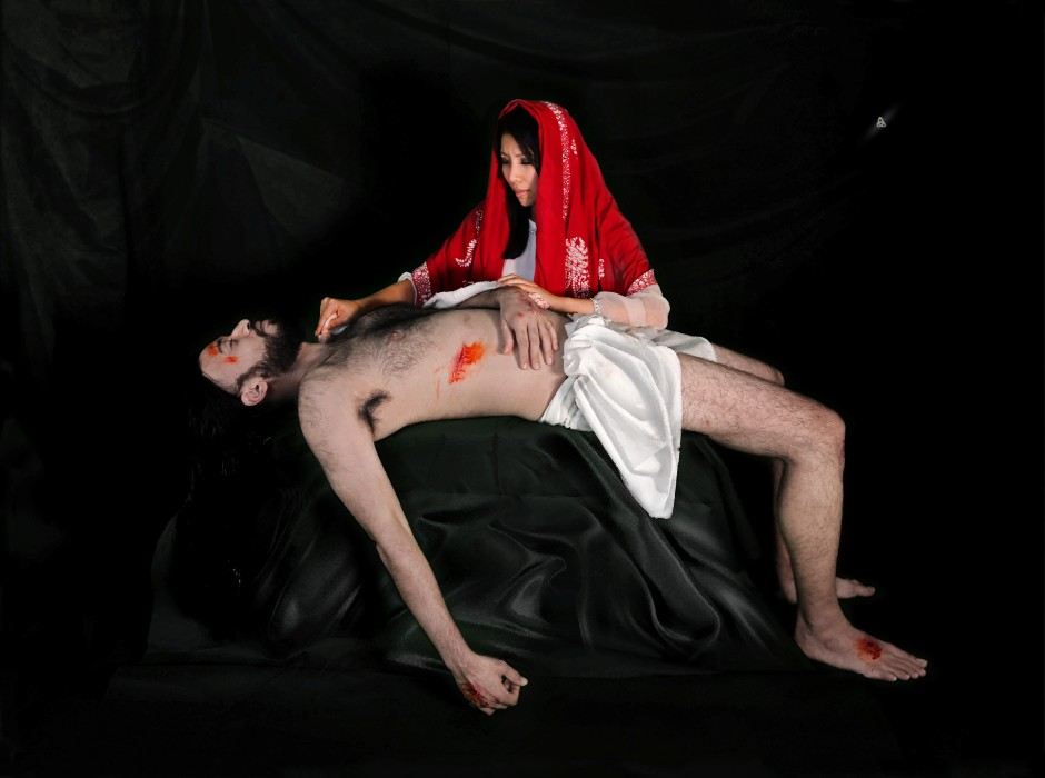 Mary Cleaning Jesus's Body (2016) by Eugene Soh