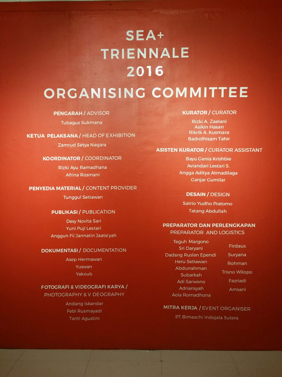 SEA+ Triennale organizing committee !